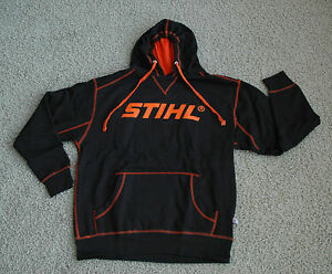 nuovo stile f9ef0 424fb Details about STIHL Officially Licensed Apparel Black & Orange Hooded  Sweatshirt