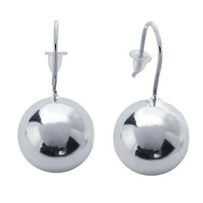 Sterling Silver Ear Wire Back Drop Balls Polished Shiny Earring 12 mm NEW