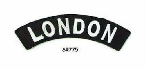 London State White on Black Small Rocker Patch Front for Biker Jacket Vest