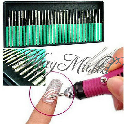 30Pcs Nail File Art Drill Bit Machine Manicure Craft Needle Replacement Kit G