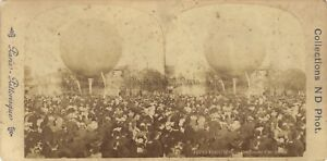 Parigi Fêtes Fiere Gonfiore di Un Ballon Foto Stereo Vintage Albumina