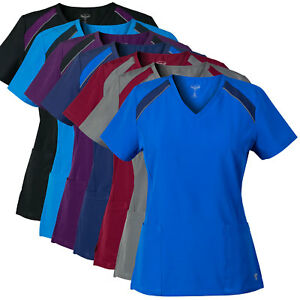 MG-SuperFlex-Athletic-Inspired-Colorblock-Stretch-Scrub-Top-w-Reflective-Piping