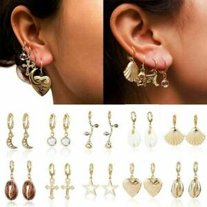 2019 Angel Star Rose Flower Hoop Earrings Ear Drop Dangle Natural Shell Scallop