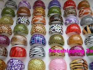 100PCS mixed skin design resin rings fashion Jewelry lot wholesale