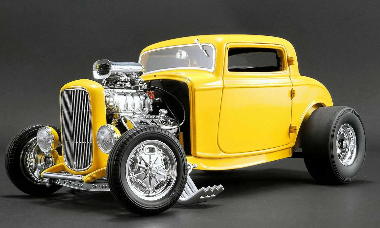 Acme 1932 Ford Soplado 3 Ventana Deuces Wild giallo 1 18New  muy Lindo