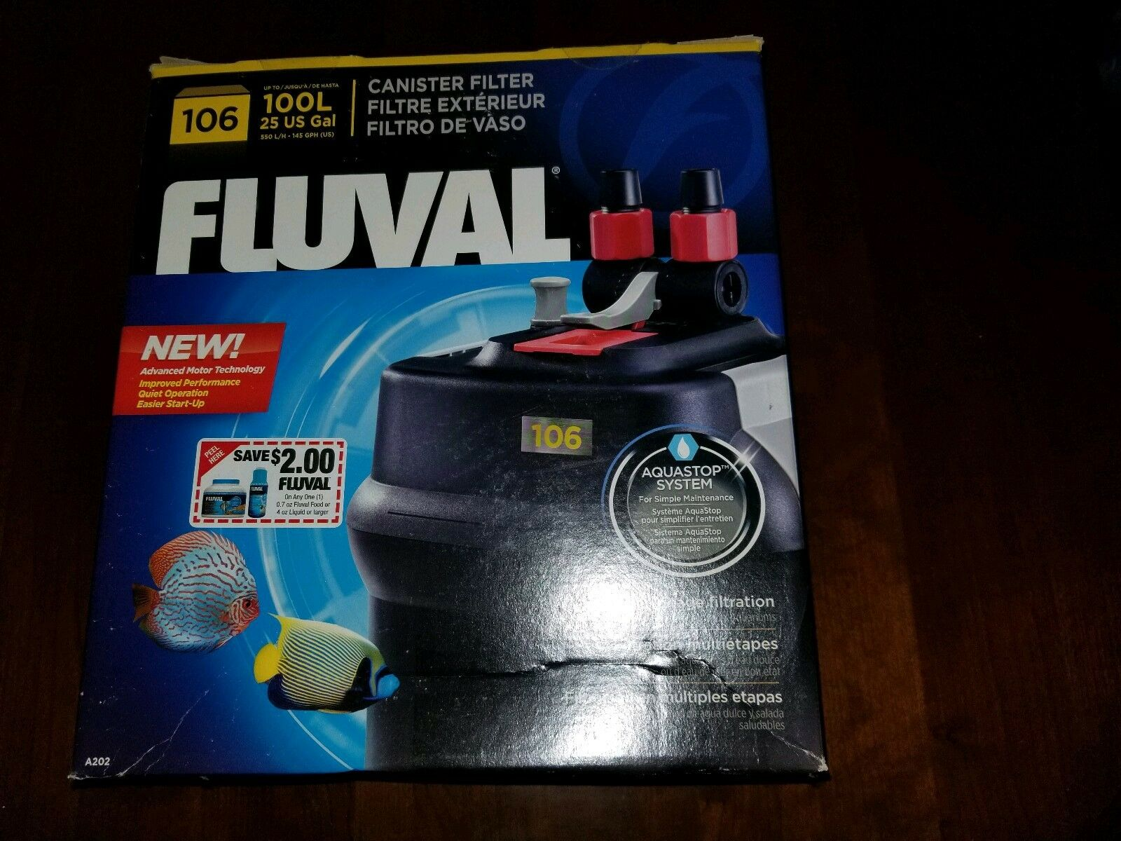 New Fluval 106 External Canister Filter - For Tanks up to 25 Gal.  145 US GPH