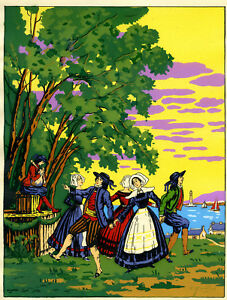 1930s-French-Pochoir-Print-Gallois-Art-Deco-Sicilian-Peasants-Dancing-Italian