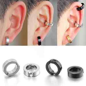 Image Is Loading Punk Anium Steel Mens Women Round Clip On