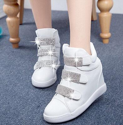 Womens Round Toe High Top Fashion Sneaker Diamond Platform Wedge Muffin Shoes
