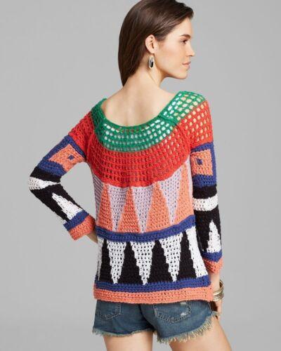 Kunst M Pullover Nwt Strikket People Free Hæklet Sweater Geometrisk Moderne Åben Top qxHSt
