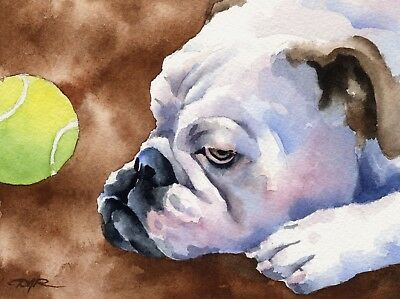 BULLDOG Painting Dog ART 11 X 14 LARGE Print by Artist DJR