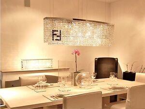 Details About Luxury 60cm Modern Rectangle LED Crystal Dining Room Bar  Restaurant Chandelier
