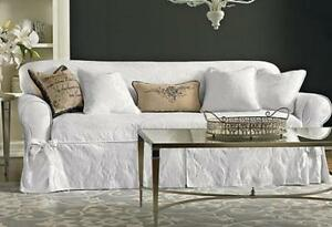 sure fit white matelasse damask one piece slip cover slipcovers sofa rh ebay com