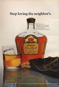 foto de 1971 Crown Royal PRINT AD Whisky in Purple Sack Vintage Bottle