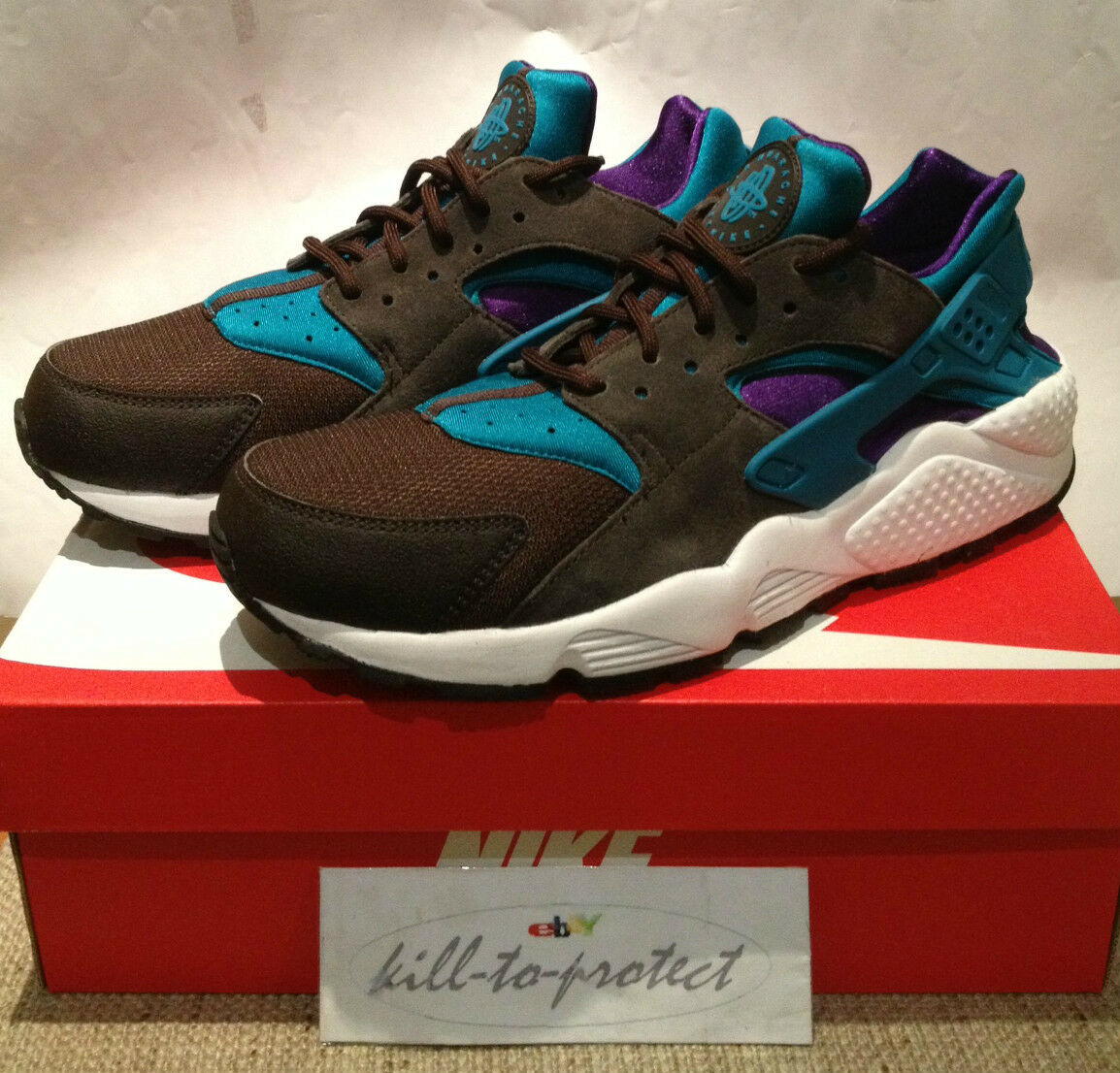 NIKE HUARACHE LE Size? Only TEAL PACK US Black Purple 318429-263