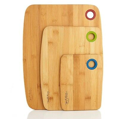 Wolfgang Puck Set of 3 Bamboo Cutting Boards With Built In Hanging Holes