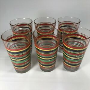 Set-6-Fiesta-Ware-16-oz-Drinking-Glasses-Very-Nice-primary-color-stripes