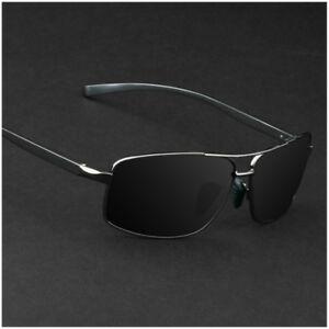Aluminium-Polarized-Photochromic-Sunglasses-Men-039-s-Pilot-Chameleon-Lens-Glasses