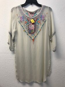 NWT-JOHNNY-WAS-Brazillia-Tunic-S-BLOUSE-EMBROIDERED-TOP-SHELL-IVORY-FLORAL-RAYON