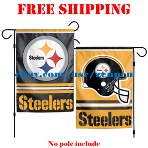Pittsburgh-Steelers-Logo-Garden-Outdoor-Flag-Double-Sides-12x18-034-NFL-2019-NEW