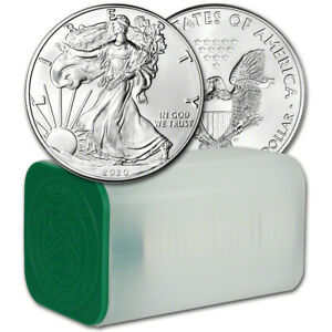 2020 American Silver Eagle 1 oz $1 - 1 Roll - Twenty 20 BU Coins in Mint Tube