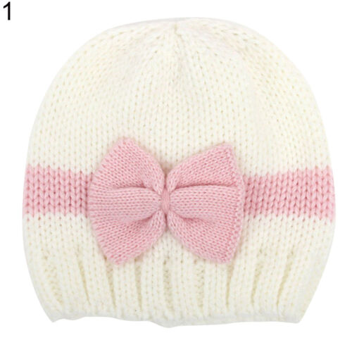 EE/_ LK/_ NE/_ LC/_ Cute Newborn Baby Girl Infant Winter Hat Bowknot Warm Knitted Be