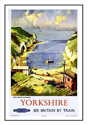 North Landing Flamborough Yorkshire Coast British Railways Rail Poster Print