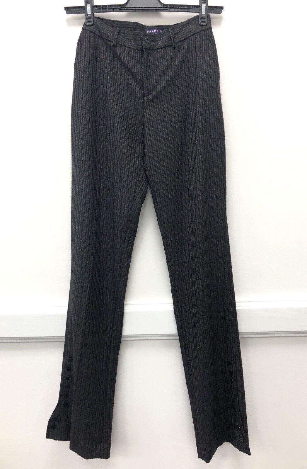 Ralph Lauren UK12 (US8) - Marronee Gessato avviocut Pantaloni con dettaglio di bottoni. NUOVO