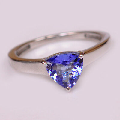 1.50Ct Natural Blue Tanzanite Trillion Cut Solitaire Ring In 925 Sterling Silver