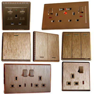 1 2 Decorative Light Switches Sockets 13a Uk Plug With Usb Brushed Gold Colour Ebay