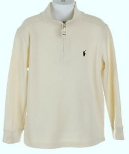 05dcd171 Details about New Polo Ralph Lauren Boys Cream Off White Half Zip Sweater 4  4T French Rib