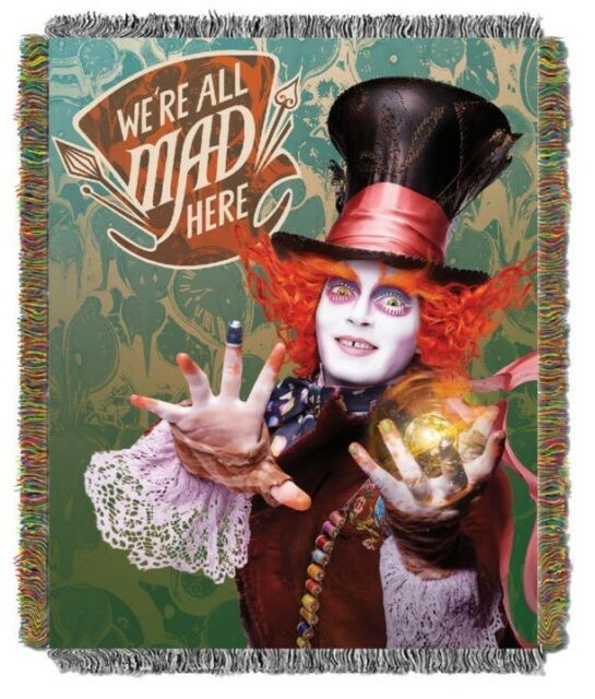 New Alice in Wonderland Woven Throw Gift Blanket Mad Hatter Johnny Depp Movie