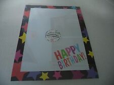 Colorful Happy Birthday Computer Paper With Large Multi Colored Stars