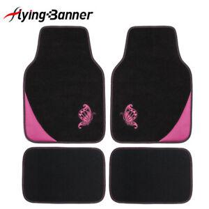 4Pcs-Universal-Carpet-Car-Floor-Mats-Front-amp-Rear-Black-Pink-for-Honda-Hyundai