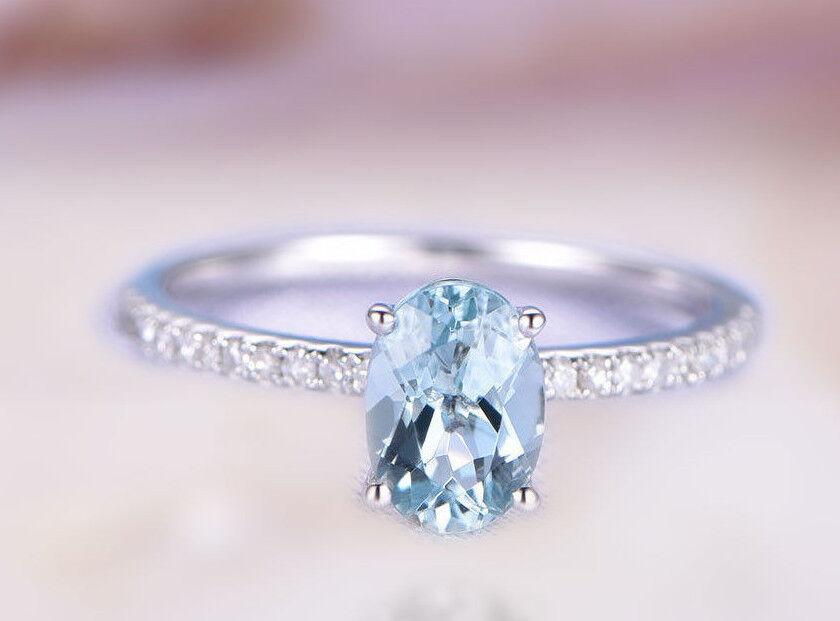 14k solid gold ring 5x7 mm bluee topaz ring diamond ring wedding ring  DJR0308