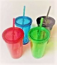 Set of 8 Multi-colored Double-Wall Plastic Tumblers with Lids and Straws, 16 oz.