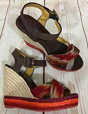 Bettye Muller Wedge Heel Espadrilles Sandals Shoes Southwestern Size 38 US 7.5