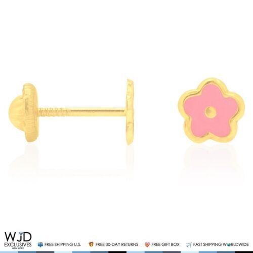 Pink Enamel Flower Baby Screw Back Stud Kid Earrings 14K Real Yellow Gold 5.5mm