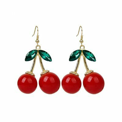 1 Pair Women Fashion Cherry Drop Dangles Rhinestone Earrings PK