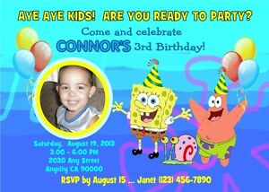 Image Is Loading SPONGEBOB CUSTOM PRINTABLE PHOTO BIRTHDAY PARTY INVITATION Amp