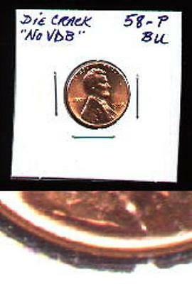 """No Reserve! GEM BU 1958//7-D Raw WHEAT Cent /""""EXTREMELY CLOSE MINT MARK/"""" Buy NOW"""