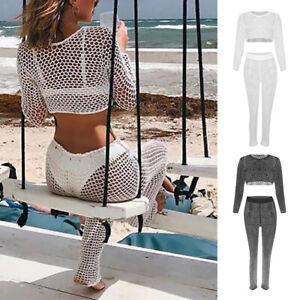 70e04bcec5a7e Womens Bathing Suit Cover Up Crochet Lace Bikini Swimsuit Crop Top ...