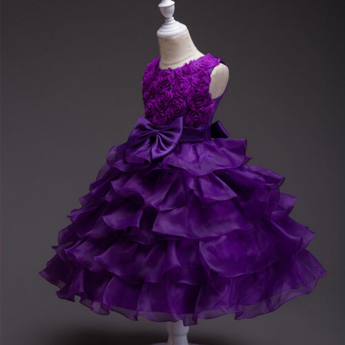 Flower Kid Girls Party Wedding Bridesmaid Dress Pageant Prom Gown Princess Dress