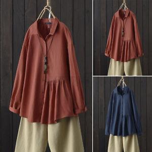 ZANZEA UK Womens Long Sleeve Button Collar Shirt Blouse Ladies Casual Loose Tops