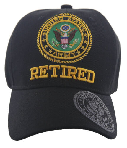US ARMY RETIRED SIDE SHADOW CAP HAT BLACK NEW