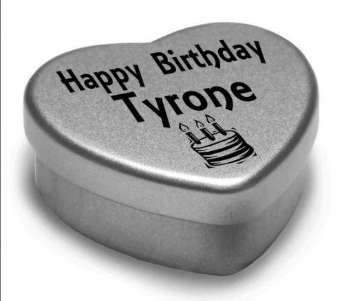 Happy Birthday Tyrone Mini Heart Tin Gift Present For Tyrone WIth Chocolates