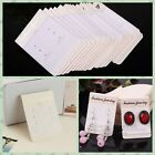 100Pcs Jewelry Earring Ear Studs Hanging Display Holder Hang Cards White Flocked