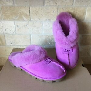 a69974fd8dd Image is loading UGG-COQUETTE-BODACIOUS-PINK-SUEDE-SHEEPSKIN-SHOES-SLIPPERS-