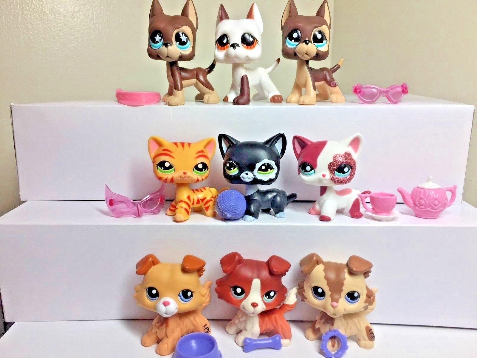 9 PC Littlest Pet Shop 3-Collie Dogs 3-Cats 3-Great Danes + 9-Accessories RARE