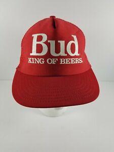 Vintage-Mesh-Snapback-Trucker-Hat-BUD-KING-OF-BEERS-BUDWEISER-Made-in-USA-Red